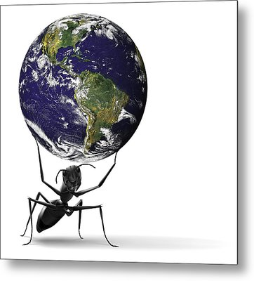 Small Ant Lifting Heavy Blue Earth Metal Print by Dirk Ercken