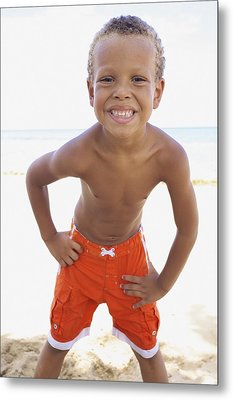 Smiling Boy On Beach Metal Print by Kicka Witte