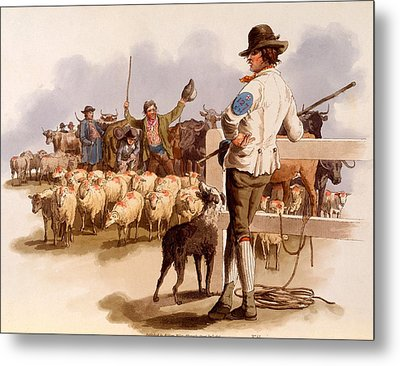 Smithfield Drover, From The Costumes Metal Print by William Henry Pyne