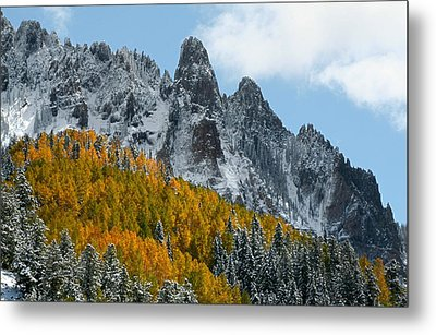 Snow On The San Juan Mountains In Autumn Metal Print by Jetson Nguyen