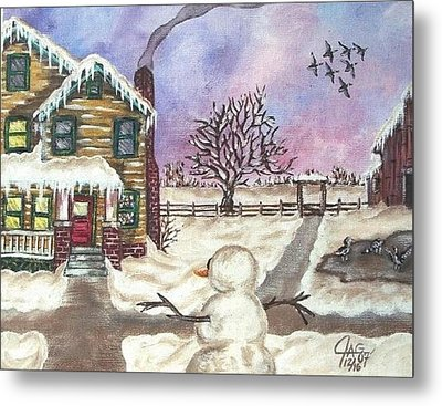 Metal Print featuring the painting Snowy Day by The GYPSY And DEBBIE