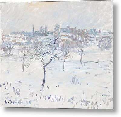 Snowy Landscape At Eragny With An Apple Tree Metal Print