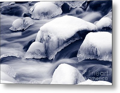 Metal Print featuring the photograph Snowy Rocks by Liz Leyden