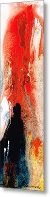 Solitary Man - Red And Black Abstract Art Metal Print