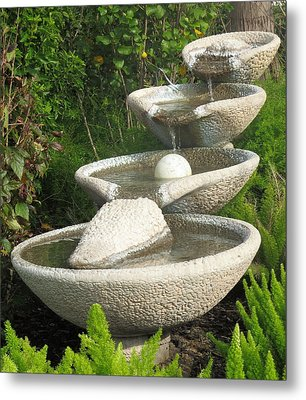 Metal Print featuring the photograph Soothing Sounds Water Fountains by Ella Kaye Dickey