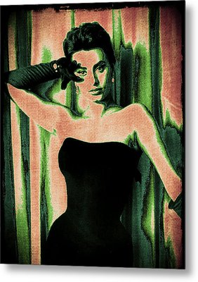 Sophia Loren - Green Pop Art Metal Print