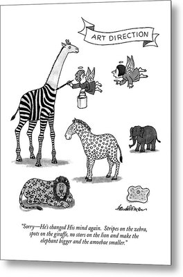 Sorry - He's Changed His Mind Again.  Stripes Metal Print