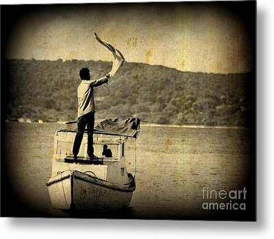 Sos   Need Gas To Get To Shore Metal Print by John Malone