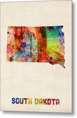 South Dakota Watercolor Map Metal Print