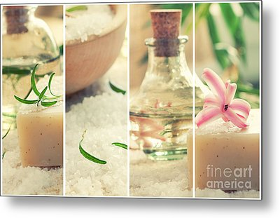 Spa Collage With Bath Salt And Flower Metal Print by Mythja  Photography