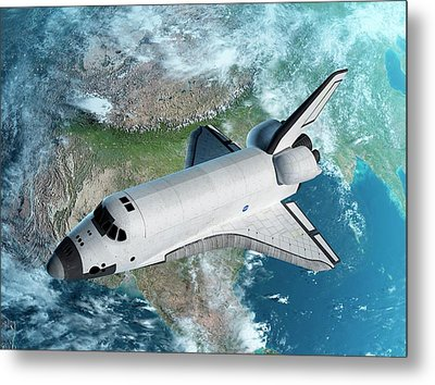 Space Shuttle Above Earth Metal Print by Sciepro