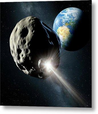 Spacecraft Colliding With Asteroid Metal Print by Detlev Van Ravenswaay