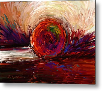 Speed - Dramatic Red And  Purple Abstract Print On Canvas Metal Print by Kanayo Ede