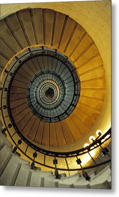 Spiral Staircase In Lighthouse France Metal Print by David Davies