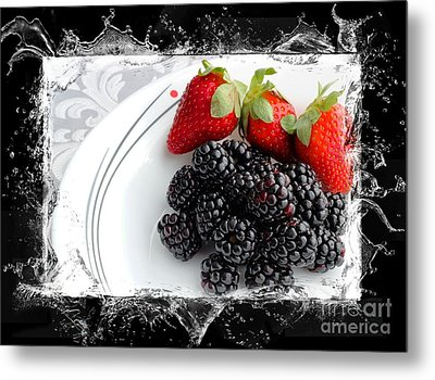 Splash - Fruit - Strawberries And Blackberries Metal Print by Barbara Griffin