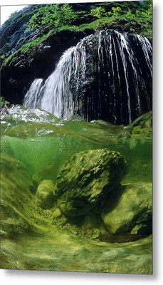 Split-picture From A Waterfall Metal Print by Thomas Aichinger