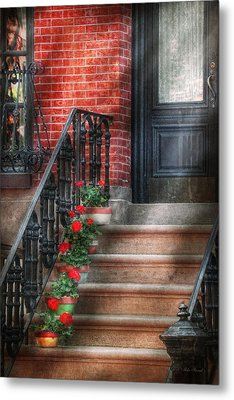 Spring - Porch - Hoboken Nj - Geraniums On Stairs Metal Print by Mike Savad
