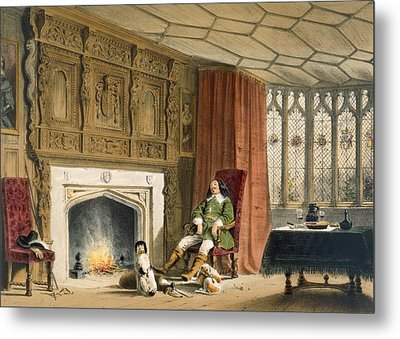 Squire With His Dogs By The Hearth Metal Print by Joseph Nash