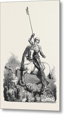 St. George Slaying The Dragon From The Old Palace At Prague Metal Print by English School
