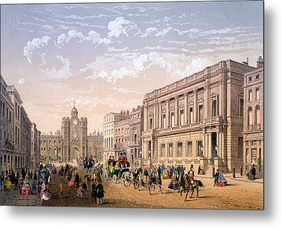 St James Palace And Conservative Club Metal Print by Achille-Louis Martinet