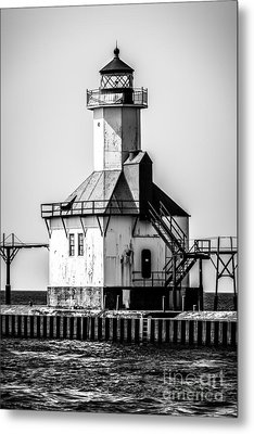 St. Joseph Lighthouse Black And White Picture  Metal Print by Paul Velgos