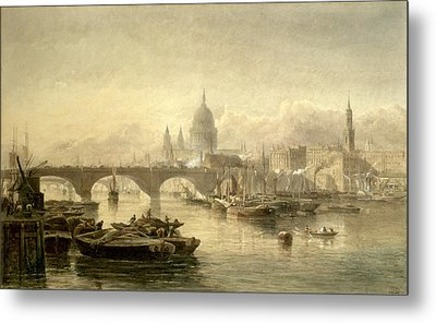 St. Pauls Cathedral And London Bridge Metal Print by Edward Angelo Goodall