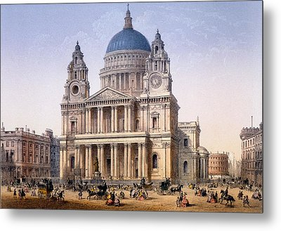 St Pauls Cathedral Metal Print by Achille-Louis Martinet