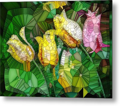 Stained Glass Series - Tulips Metal Print by Ron Grafe
