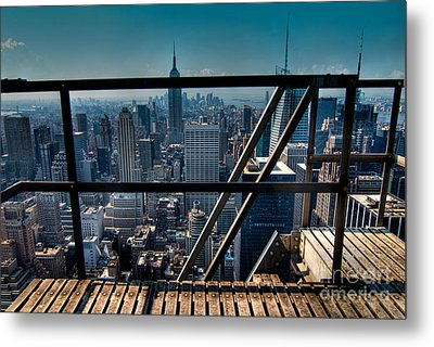 Stairways On Top Of Rockefeller Center Metal Print by Amy Cicconi