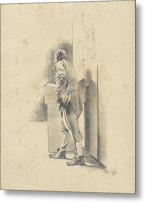 Standing Man, Leaning, Pieter Van Loon Metal Print