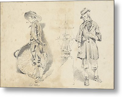 Standing Men And One Ship Model, Pieter Van Loon Metal Print