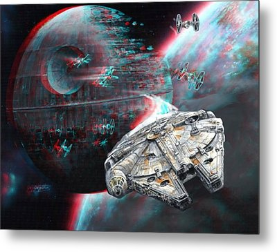 Star Wars 3d Millennium Falcon Metal Print by Paul Van Scott
