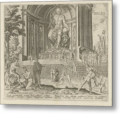 Statue Of Zeus At Olympia, Philips Galle Metal Print