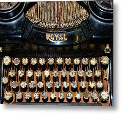 Steampunk - Typewriter -the Royal Metal Print by Paul Ward