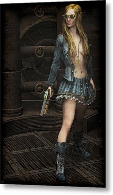 Steampunk Vixen Metal Print by Maynard Ellis