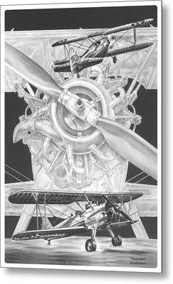 Stearman - Vintage Biplane Aviation Art Metal Print by Kelli Swan