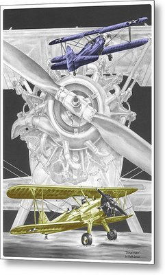 Metal Print featuring the drawing Stearman - Vintage Biplane Aviation Art With Color by Kelli Swan