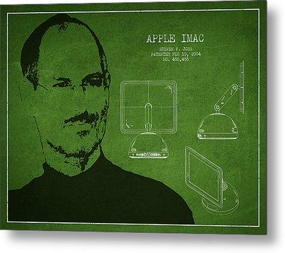 Steve Jobs Imac  Patent - Green Metal Print
