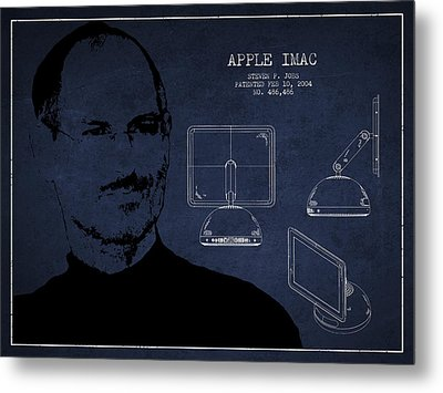 Steve Jobs Imac  Patent - Navy Blue Metal Print