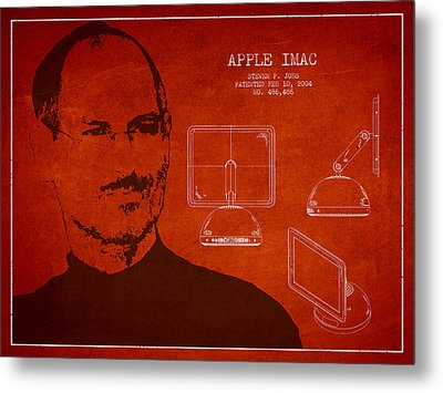 Steve Jobs Imac  Patent - Red Metal Print by Aged Pixel