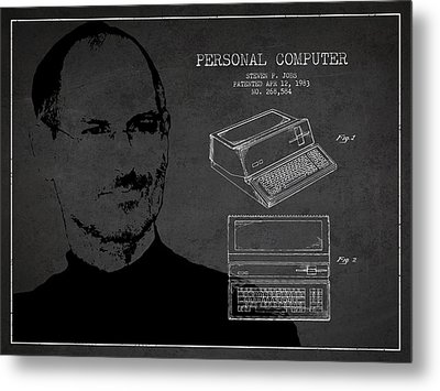 Steve Jobs Personal Computer Patent - Dark Metal Print by Aged Pixel