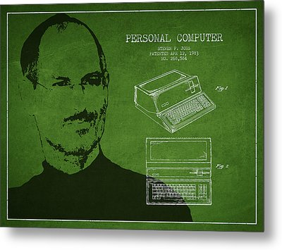 Steve Jobs Personal Computer Patent - Green Metal Print by Aged Pixel