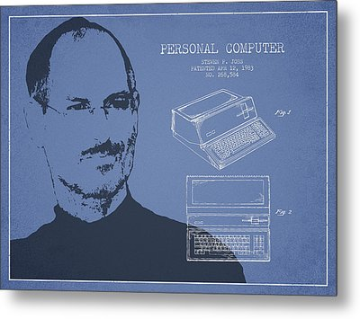 Steve Jobs Personal Computer Patent - Light Blue Metal Print by Aged Pixel