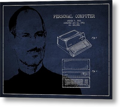 Steve Jobs Personal Computer Patent - Navy Blue Metal Print by Aged Pixel