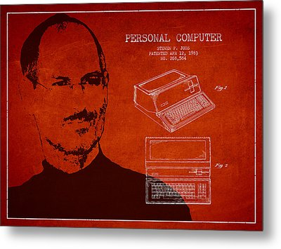 Steve Jobs Personal Computer Patent - Red Metal Print by Aged Pixel