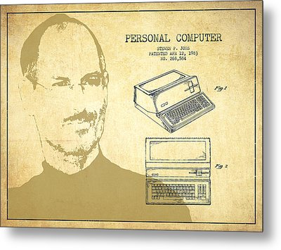 Steve Jobs Personal Computer Patent - Vintage Metal Print by Aged Pixel