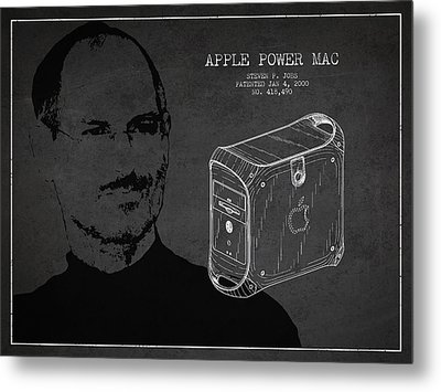 Steve Jobs Power Mac Patent - Dark Metal Print