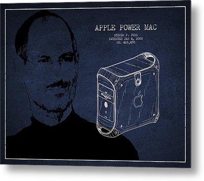 Steve Jobs Power Mac Patent - Navy Blue Metal Print