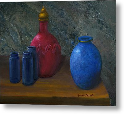 Still Life Art Blue And Red Jugs And Bottles Metal Print