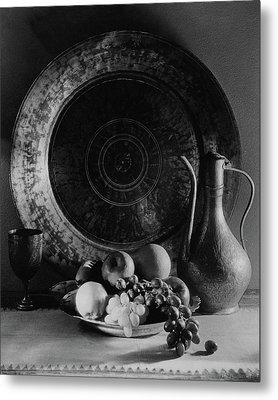 Still Life Of Armenian Plate And Other Metal Print by Joseph B. Wurtz